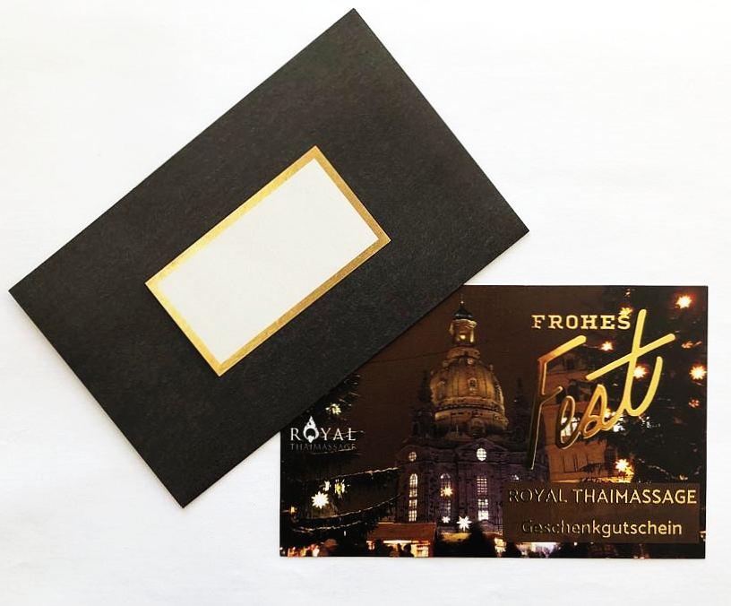 """Weihnachts-Geschenkgutschein der Royal Thaimassage Dresden """"Frohes-Fest"""""""