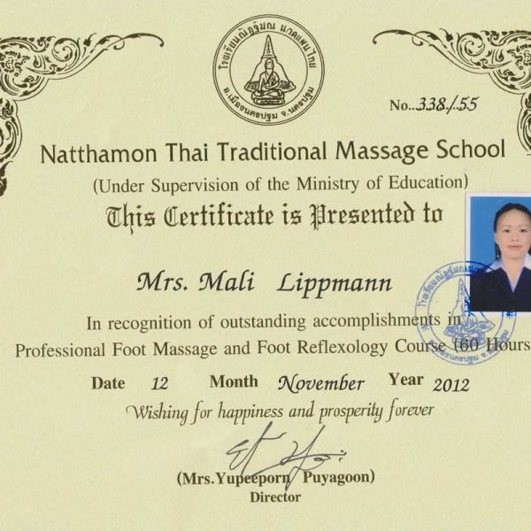 Mali Zertifikat Fußreflexzonenmassage 2012