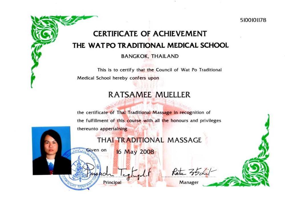 Zertifikat Nee vom Wat Po in Bangkok
