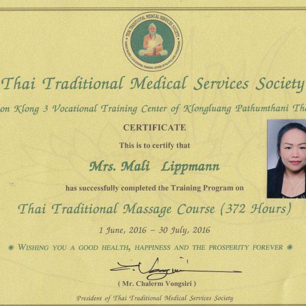 Mali-Zertifikat Weiterbildung Traditionelle Thaimassage 2016